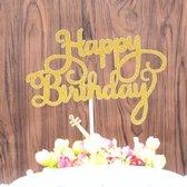 Taart topper Happy birthday goud  - verjaardag - happy birthday - glitter - goud - taart - cake topper