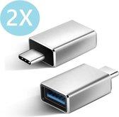 Set van 2 USB-C naar USB-A adapter OTG Converter USB 3.0 | |2 pack| USB C to USB A HUB | Verloop - Zilver