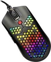 Honeycomb Gaming Muis - Stille Game Muis - 800 TOT 12.000 DPI - RGB verlichting - 7 Knoppen - Licht gewicht