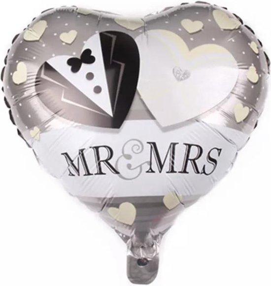 MR&MRS Hartjes Trouwerij Folie  Ballon