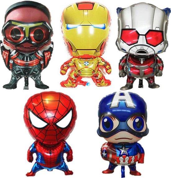 5 -pack Superhero Birthday Party Balloon Avengers Super Hero Spiderman, Ironman, Captain America, Hawk-eye, Ant-man   aktie figuren   feest ballon   verjaardag versiering   verjaardag decoratie