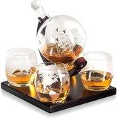 Whisiskey® Decanteerkaraf - Wereldbol - Luxe Whiskey Karaf Set - 0,9 L - Incl. 9 Whisky Stones, Schenktuit en 4 Glazen