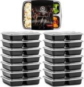 Meal Prep Bakjes - 14 stuks - 3 compartimenten - Lunchbox - Diepvriesbakjes - Vershoudbakjes - Plastic Bakjes Met Deksel - Magnetron Bakjes Met Deksel - Meal Prep - Vershouddoos - 1L - BPA vrij - Fitcrafters