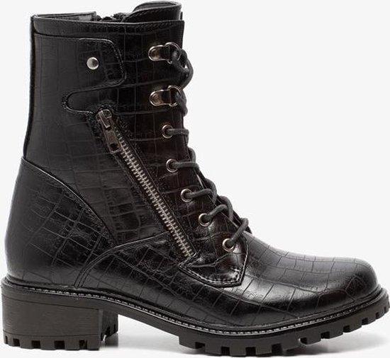 Dames schoenen   Blue Box dames croco veterboots