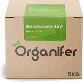 Gazonmest 4in1 (5Kg - Voor 100m2) Voor een diepgroene sterk gazon zonder mos en onkruid - Verrijkte Organische Mestkorrels - Organifer