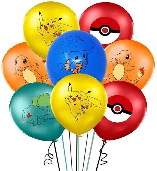 Pokémon ballonnen set van 10 stuks met o.a. Pikachu, Squirtle, bulbasaur, pokeball en Charmander 30 cm ballon