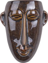 Pt, (Present Time) Mask - Wand bloempot - keramiek - 17,5x22,4x7,4cm - bruin