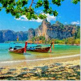 Graphic Message Tuin Schilderij op Outdoor Canvas - Strand Ao Nang - Thailand - Boten