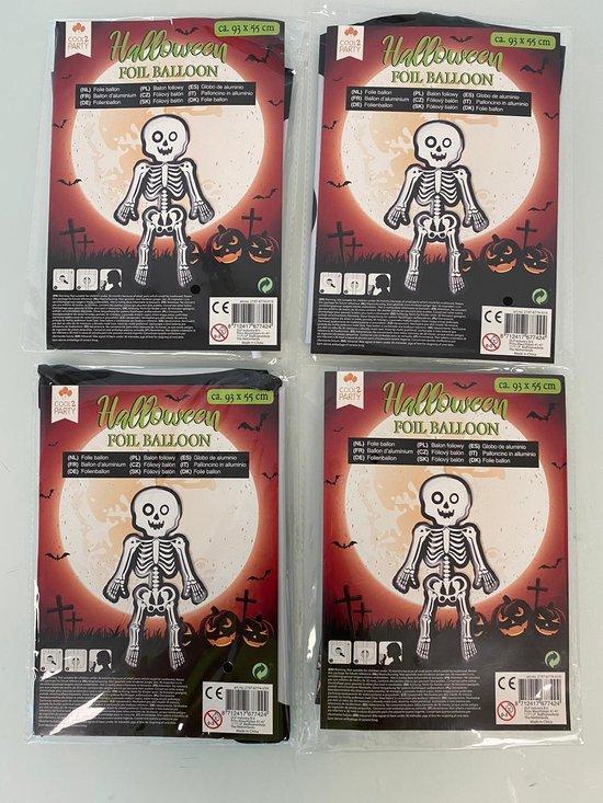Halloween decoratieve folie ballon (skelet) - set van 4 stuks