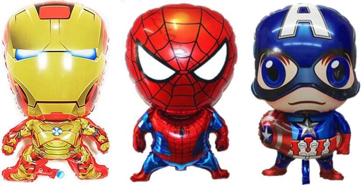 3-pack Superhero Birthday Party Balloon Avengers Super Hero Spiderman, Ironman, Captain America   aktie figuren   feest ballon   verjaardag versiering   verjaardag decoratie