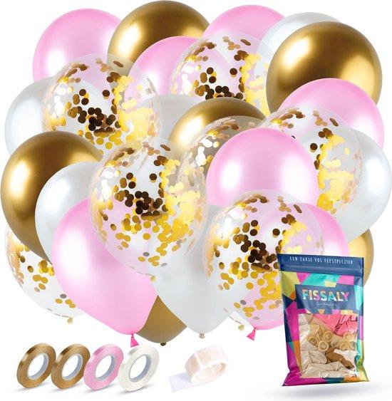 Fissaly® 40 Stuks Goud, Creme wit, Roze & Confetti Goud Latex Ballonnen met Accessoires – Helium - Decoratie – Bruiloft & Trouwen