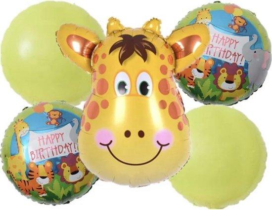 HBD-Giraffe-Jungle-Set(5stuks)-Ballonnen 1 + 1 gratis