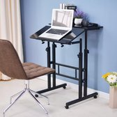HN® Zit-Sta Laptoptafel Zwart   Tablet- werk en Computertafel   In hoogte verstelbaar   Multifunctioneel   Laptop tafel op wieltjes   70 cm tot 115 cm   Bijzettafel Bureau