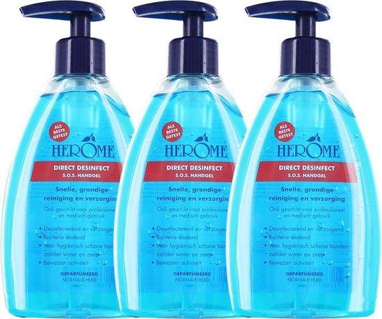 Herome Direct Desinfect Met Pomp -3x200ml- Desinfecterende Handgel met 80% Alcohol - Beschermt Tegen Bacteriën en Droogt de Handen Niet Uit