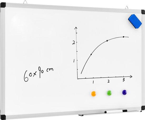 Afbeelding van Acaza whiteboard magnetisch - 60x90cm - Wit - Incl. stift, wisser en afleggoot