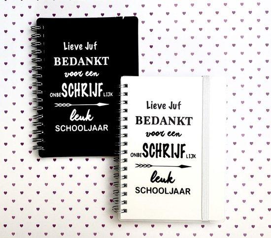 2 Notitieboekjes | Juf Bedankje | Juf Cadeau | Einde Schooljaar | zwart/wit