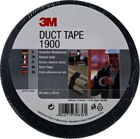 3M 1900 - Duct tape - 50 mm x 50 m - Zwart