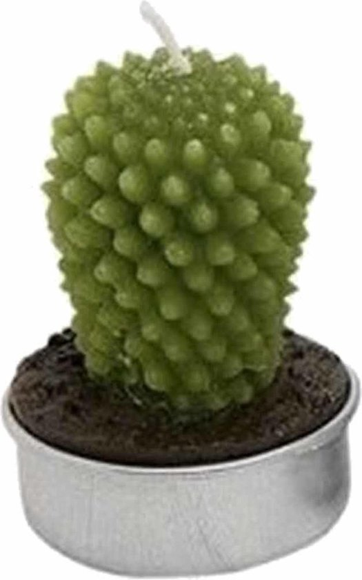 Set van 4x stuks cactus figuur waxinelichtjes 5 cm - Decoratie theelichtjes/waxinekaarsjes.