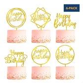 Fissaly® 6 Stuks Gouden Happy Birthday Taarttopper & Caketopper Set – Taartversiering – Decoratie Topper