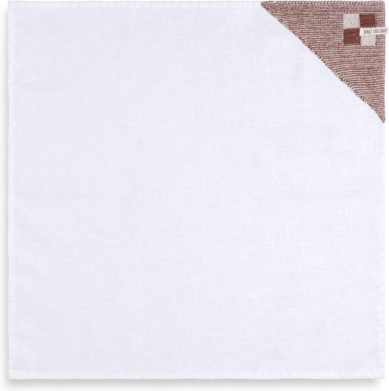 Knit Factory Theedoek Block - Ecru/Roest