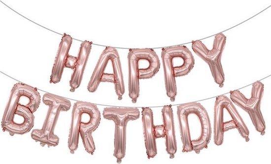 Folie-ballonnen 16 INCH / 40 CM met letters 'HAPPY BIRTHDAY' Zalm Roze (31267)