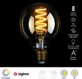 Zigbee Spiraal Filament LED lamp | 95mm | Instelbaar 1800K tot 4000K | Vervangt 40W gloeilamp | Grote fitting E27 | compatible met Hue en IKEA Home smart*