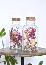 Droogbloemen in glas | Mixed Colors | Natuurlijk Bloemen | 20 cm