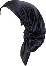 YOSMO - Zijden Slaap haardoek - kleur zwart - maat klein - kort haar - Slaapmuts - Bonnet - 100% Zijden - Moerbei