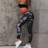 Legging zwart voor vrouwen dames met slogans sport, fitness, running, yogha maat M
