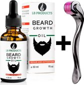 LB Products Baardgroei Olie™ 2.0 + Derma Baard Roller- Baardolie - Baard groei middel - Baardhaar - Baardgroei stimuleren - Versnellen 30 ml