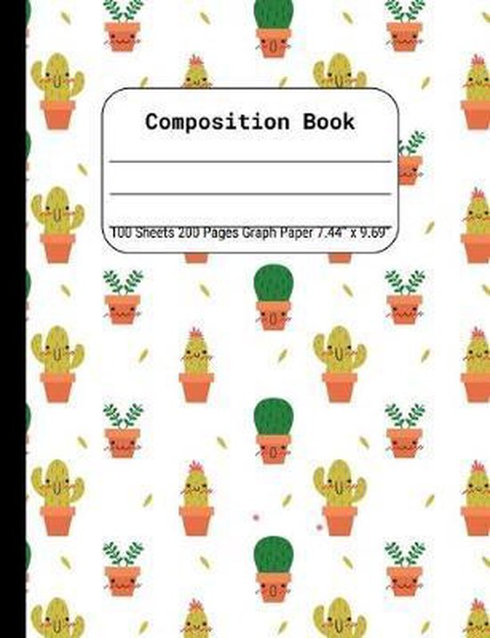 Composition Book Graph Paper: Quad Rule (4x4) Graph Paper, Four Squares per Inch Journal Notebook for Math, Science, School, Home or Work, Cactus on