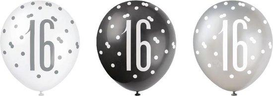 Ballonnen 16 Jaar Stippen Zwart 30cm 6st
