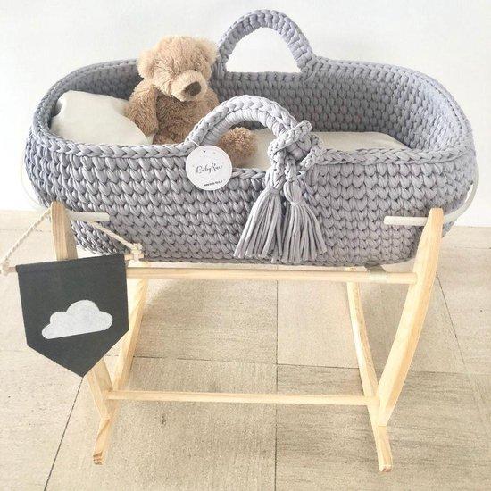 Mozes mandje wieg - Unieke hand-made gehaakte babymandjes - Grijs mozesmandje - Wieg mand