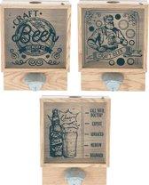 Bierdophouder met opener in metaal - 18x7x26cm - hout - bieropener - flesopener - Wandmontage