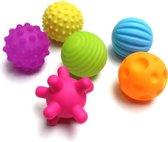 Educatieve ballen - motoriek en zintuigen - set van 6 ballen - voelen en verkennen - primaire kleuren