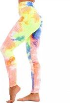 Sportlegging – Olamee – Tie Dye - Anti Cellulite Legging - Absorberend - Yoga – Fitness – Vrije tijd - Scrunch Butt - High Waist - Gym Sports Wear – Elastisch – Tweede huid – Platte buik – A Kwaliteit – Rondere billen – Smallere taille-RainbowNeon-XL
