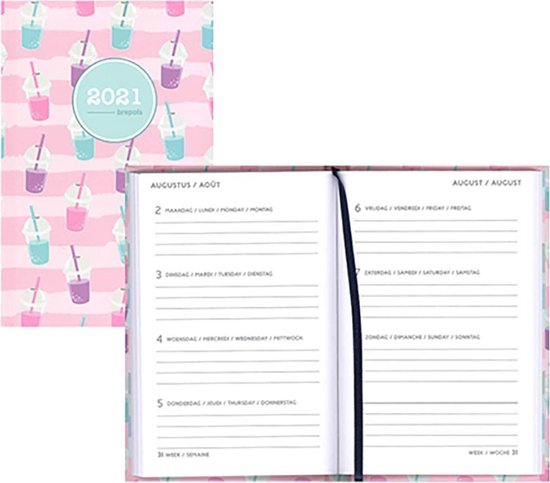 Brepols agenda 2021 - HAPPY - Pocket - Drinks - Roze - 7d/1p - 10 x 15 cm