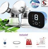 Elektrische Dubbele Borstkolf- + Gratis Accessoires- Elektrische Borstvoeding- Elektrische Dubbele Melkpomp- Elektrische Baby Borstvoeding -  Elektrische dubbele Kolf Apparaat- kleur grijs