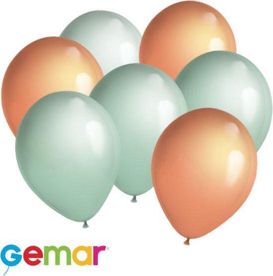 30 ballonnen Mintgroen en Zalmroze (Ook geschikt voor Helium)