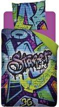 Snoozing Street Life Dekbedovertrek - Eenpersoons - 140x200/220 cm - Katoen - Multicolour