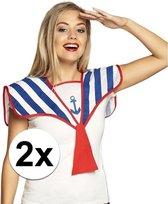2x Matrozen verkleed kraag gestreept - Marine - Zeeman - Maritiem kraagje met stropdas 2 stuks