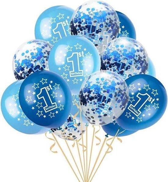 Happy Birthday 1 jaar blauwe ballonnen set | 1 jaar jongens verjaardag | 5 blauwe confetti ballonnen en 10 blauwe ballonnen | Baby verjaardag of kinderfeestje