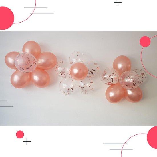 Bloemenmix set/rose goud/20 helium ballonnen/eco-friendly/Groot:30cm/3 bloemenclips/ Verjaardag, bruiloft, babyshower, versiering