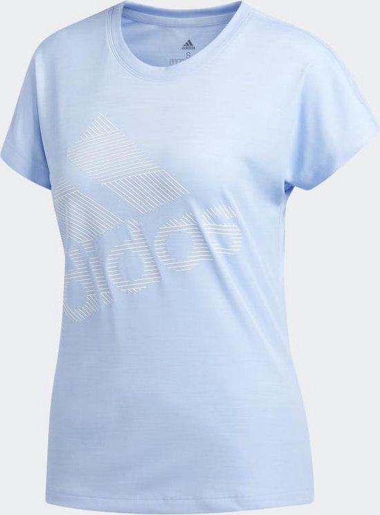 adidas SS BOS LOGO TEE Dames Sportshirt - Glow Blue - Maat XS