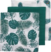 Afbeelding van Meyco 3-pack Hydrofiele luiers - Tropical leaves-Uni emerald green-Peacock