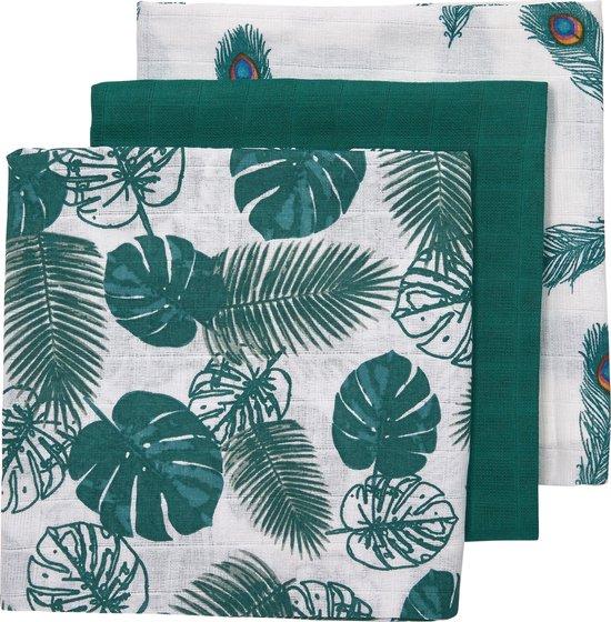 Afbeelding van Meyco 3-pack Hydrofiele luiers - Tropical leaves-Uni emerald green-Peacock