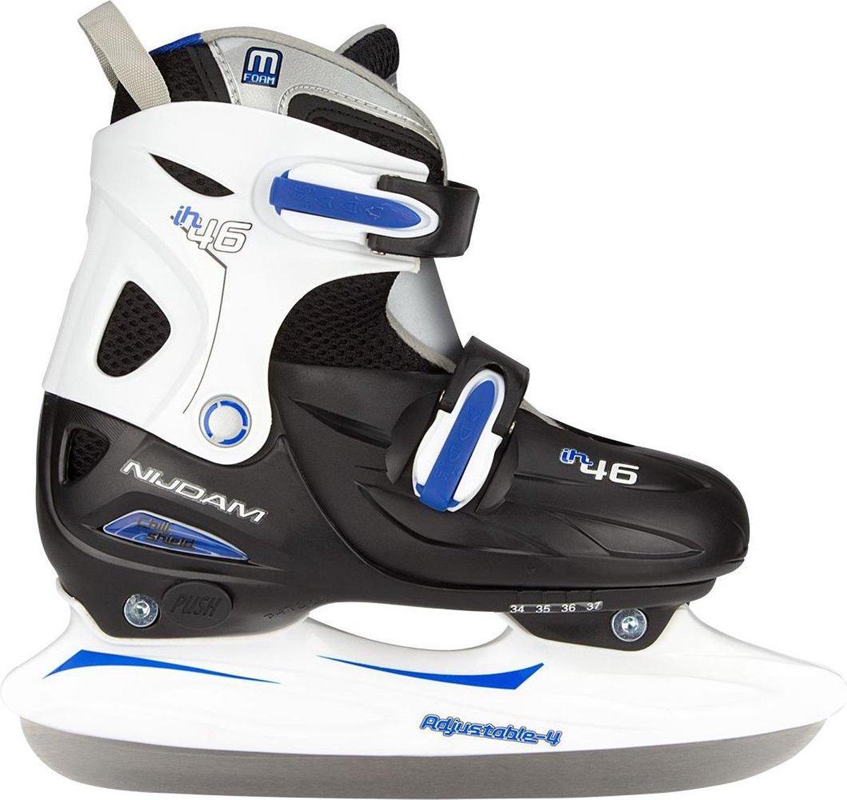 Nijdam IJshockeyschaats Junior Verstelbaar - Hardboot - Zwart/Zilver/Blauw - 34-37