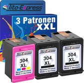 PlatinumSerie® color set 3 x cardridge alternatief voor HP 304 XL black & color