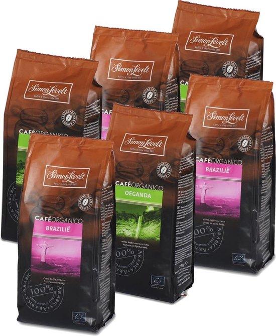 Simon Lévelt Proefpakket biologische Origines koffiebonen - 6 x 250 gram