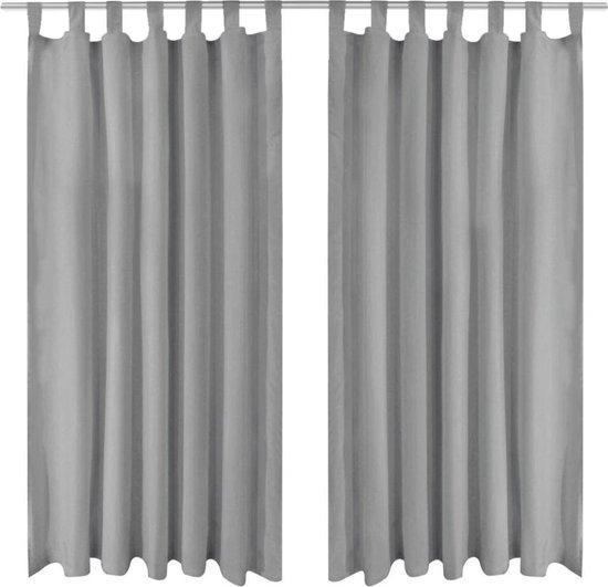 vidaXL Micro-satijnen gordijnen met lussen 140x175 cm grijs 2 st